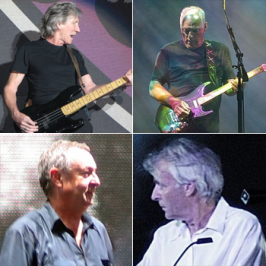 Boven: Roger Waters (l) & David Gilmour (r) Onder: Nick Mason (l) & Richard Wright (r)